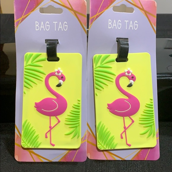 NWT Luggage bag tags with pink flamingos